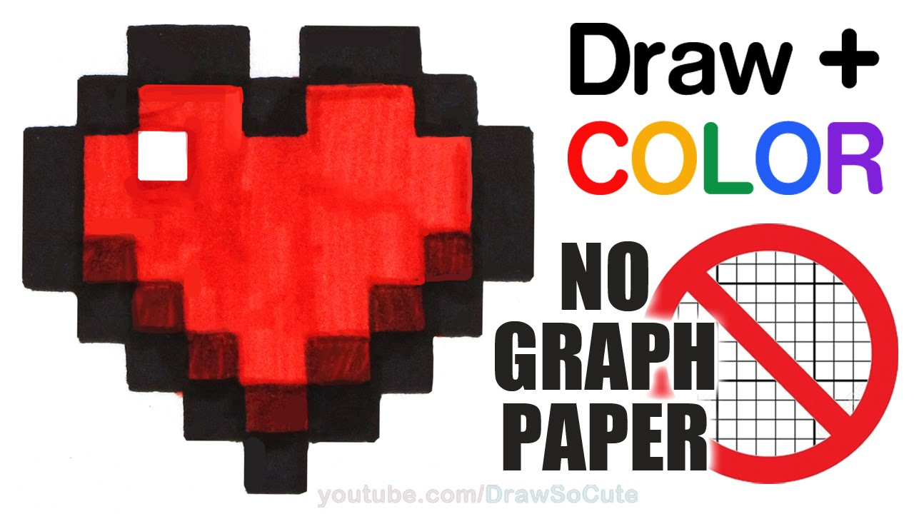 how to draw color a minecraft heart easy no graph paper step by