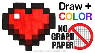 How to Draw + Color a Minecraft Heart Easy -NO Graph Paper step by step