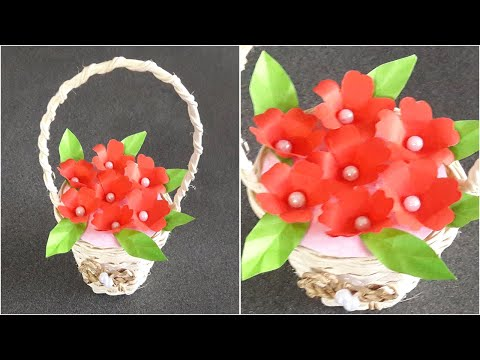 diy,-cute-red-paper-flowers-in-small-basket-for-wedding-gifts