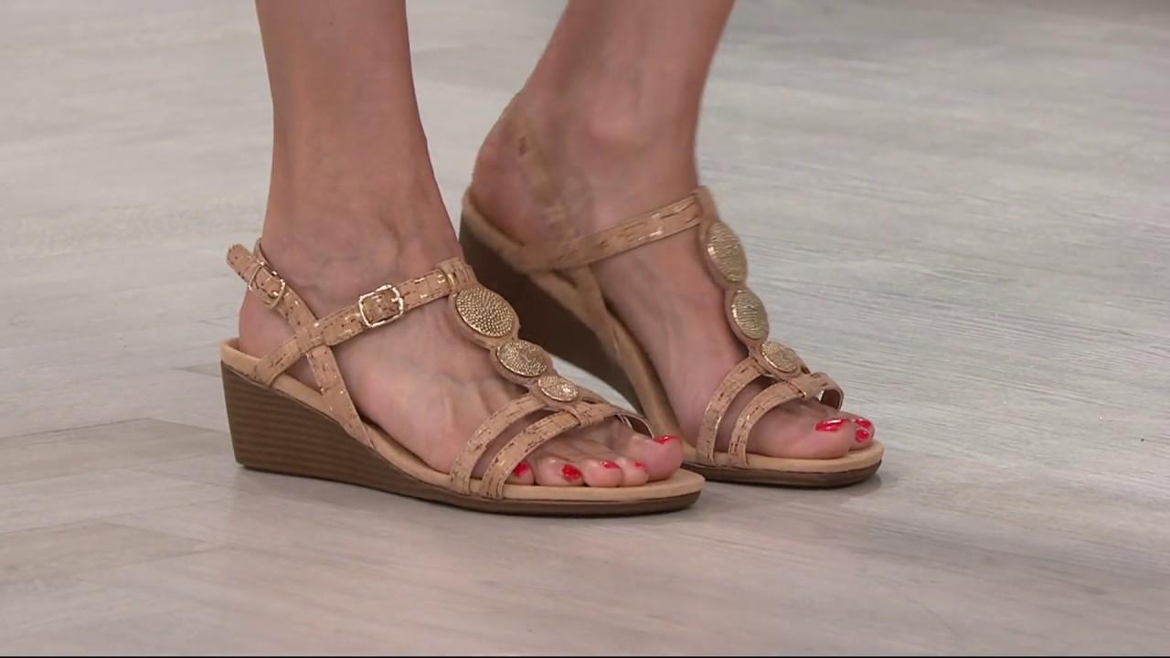 f33f413a3b47 Vionic Orthotic Embellished Wedge Sandals - Noleen on QVC - YouTube