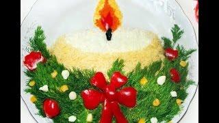 Украшение новогоднего стола. Украшение новогодних салатов.