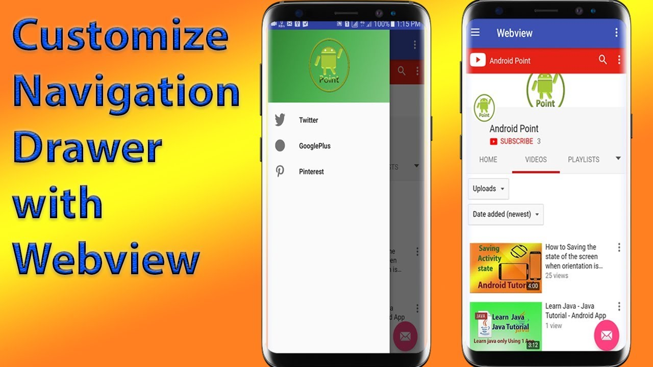Customize navigation drawer with webview tutorial youtube customize navigation drawer with webview tutorial android point baditri Image collections