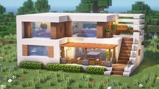 Minecraft: How To Buİld a Small Modern House Tutorial(Easy)(#20) | 마인크래프트 건축, 모던하우스, 집 짓기, 인테리어