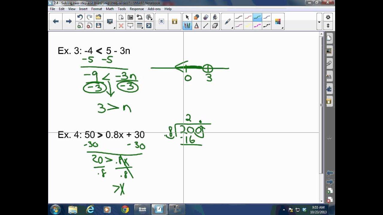 Algebra I 2 4 Solving Two Step And Multi Step