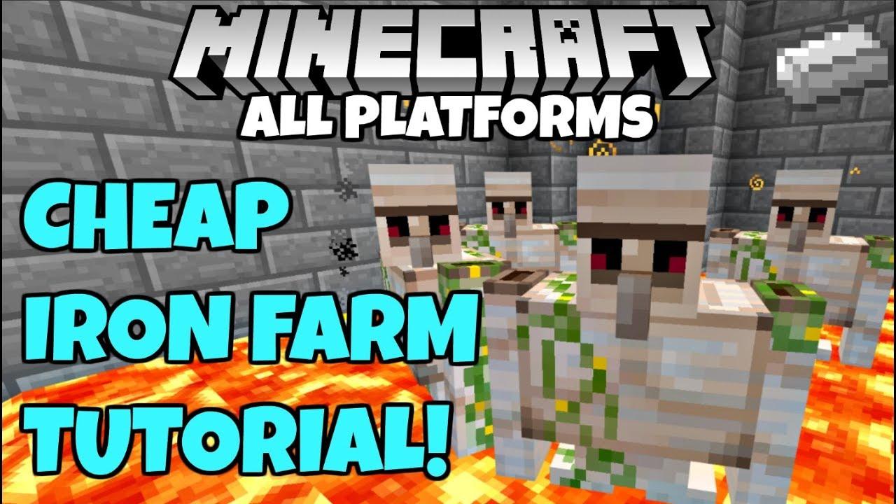 Minecraft SIMPLE IRON FARM Tutorial Bedrock Edition Xbox Ps4 PC PE Wii