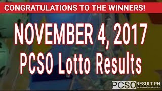 PCSO Lotto Results Today November 4, 2017 (6/55, 6/42, 6D, Swertres & EZ2)