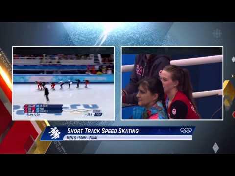 Marianne St Gelais watches boyfriend Charles Hamelin win gold