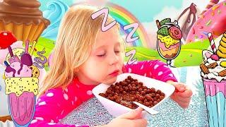 Nastya und Papa stehen früh zur Schule auf