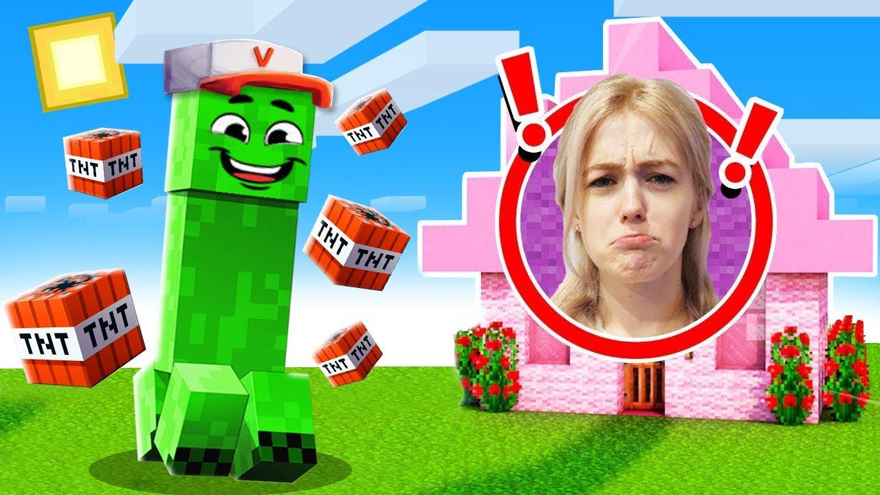 TROLLUJĘ MOJĄ DZIEWCZYNĘ PRZEBRANY ZA CREEPERA w Minecraft! | Vito i Bella