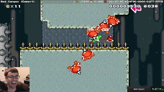 """Mario Maker - Cool Themed Kaizo """"Red Canyon"""" (Very Difficult Level)"""