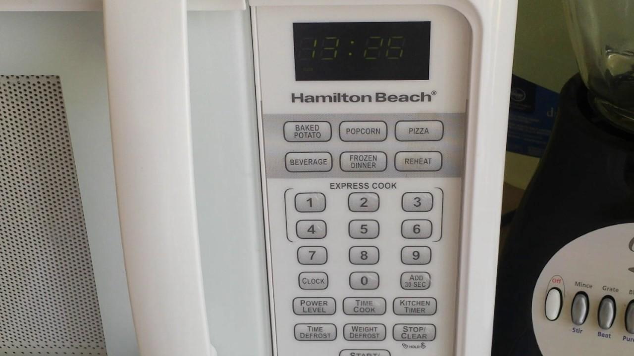 hamilton beach microwave setting the clock