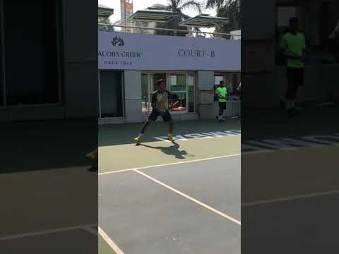 Hitting some forehands in Juhu Vile Parle Gymkhana Club