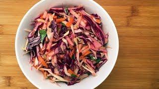 Постный салат из красной капусты