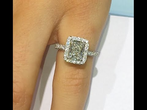 2 00 Ct Radiant Cut Diamond Halo Engagement Ring Youtube