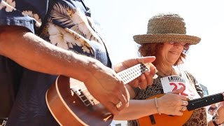 Ukelele players gather at Japanese American Cultural & Community Center Plaza