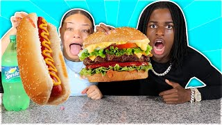 We Only Ate GIANT FOOD For 24 HOURS! (IMPOSSIBLE CHALLENGE)