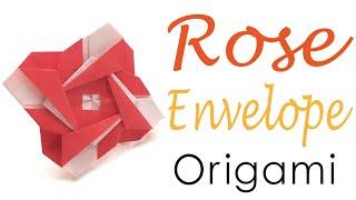 Origami Paper Rose Flower Letter Envelope - Origami Kawaii〔#051〕
