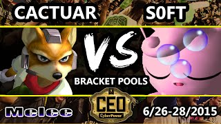 CEO 2015 - Cactuar (Fox) Vs. SS | Soft (Jigglypuff) SSBM Breacket Pools - Smash Melee(Live Broadcast By VGBootCamp on Twitch: http://www.twitch.tv/vgbootcamp If you'd like to support us: http://www.patreon.com/vgbootcamp Subscribe for More ..., 2015-07-09T21:30:00.000Z)