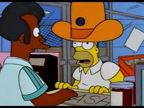 Los Simpson - Apu - Tiene una avispa dentro del sombrero - YouTube