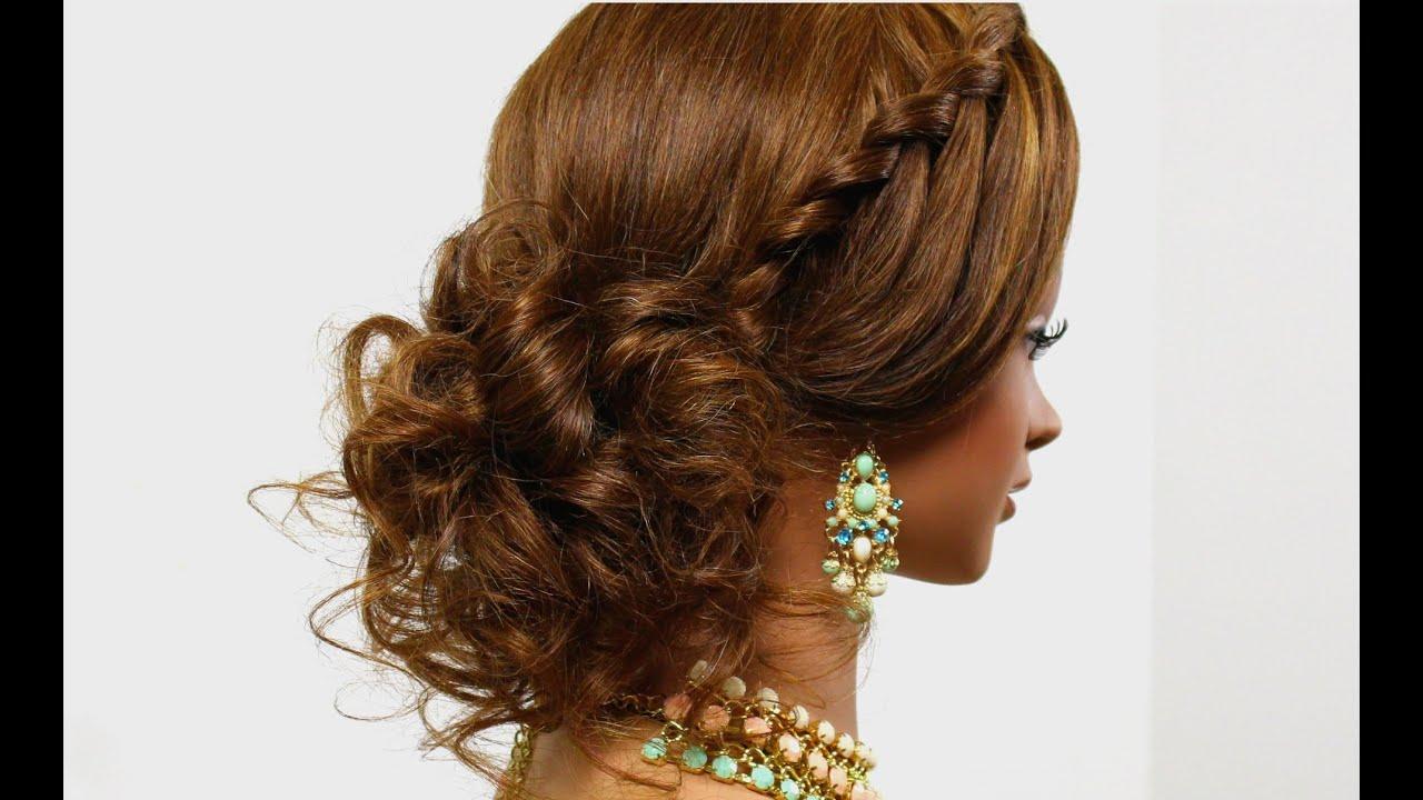 Bridal updo, wedding hairstyle for medium hair. - YouTube