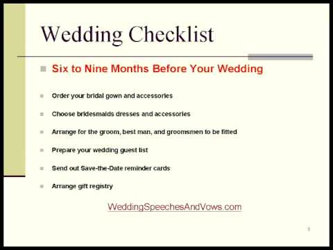 Wedding Checklist And Timeline  Youtube