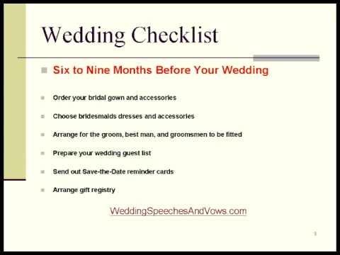 Wedding Checklist and Timeline - YouTube - wedding list