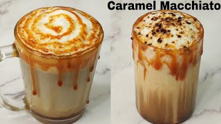 Cafe Style Hot & Iced Caramel Macchiato Recipe at Home ~ Bristi Home Kitchen