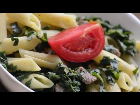 Penne Pasta with Braised Collard Greens