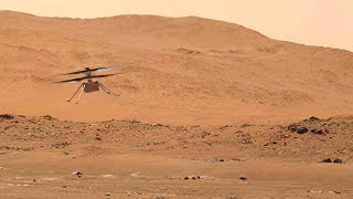 FULL Helicopter Ingenuity's 4th flight on Mars with dust swirling visible
