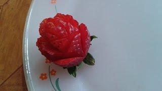 Rosa de fresa arte mukimono tutorial