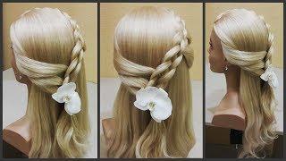 Красивое плетение волос на распущенные волосы🌸  Beautiful hair weaving on her hair💥
