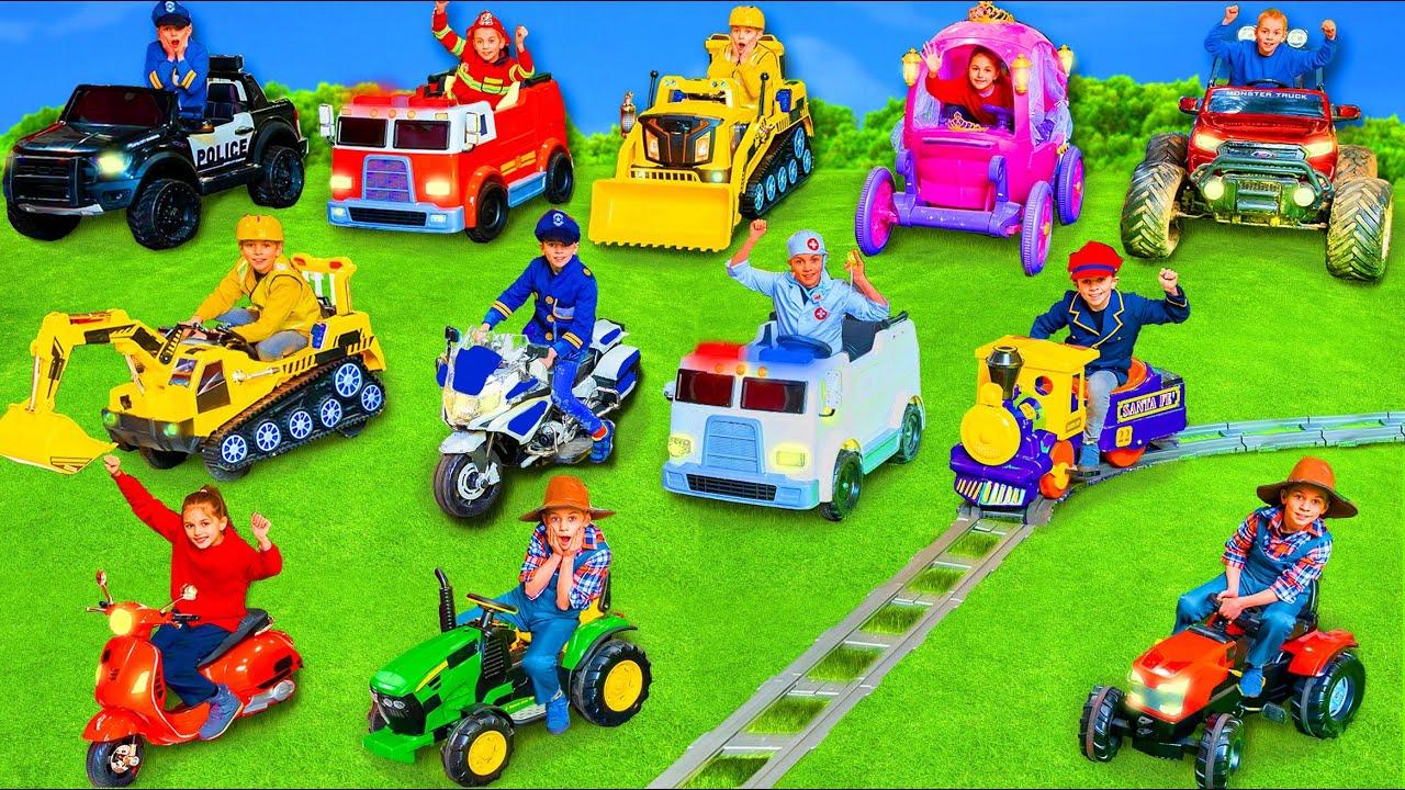 Kids learn the ABC with Ambulance, Bulldozer, Crane, Dump Truck, Excavator & Fire Truck Pretend Play