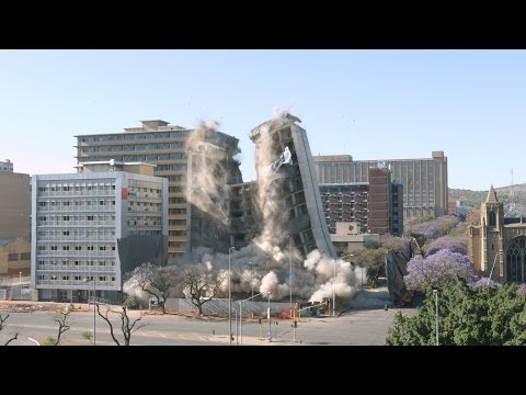 HG de Witt building demolition implosion in Pretoria, South Africa