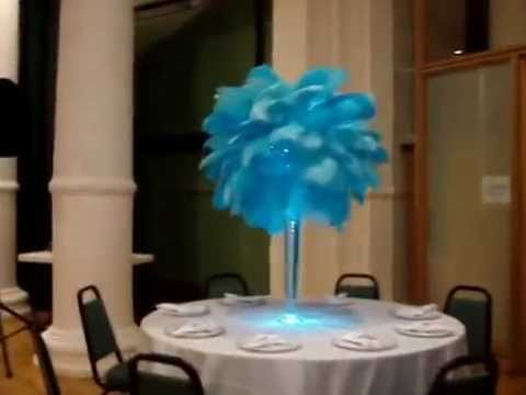 Aqua Ostrich Feather Centerpiece Rentals At The Church Of St Jean
