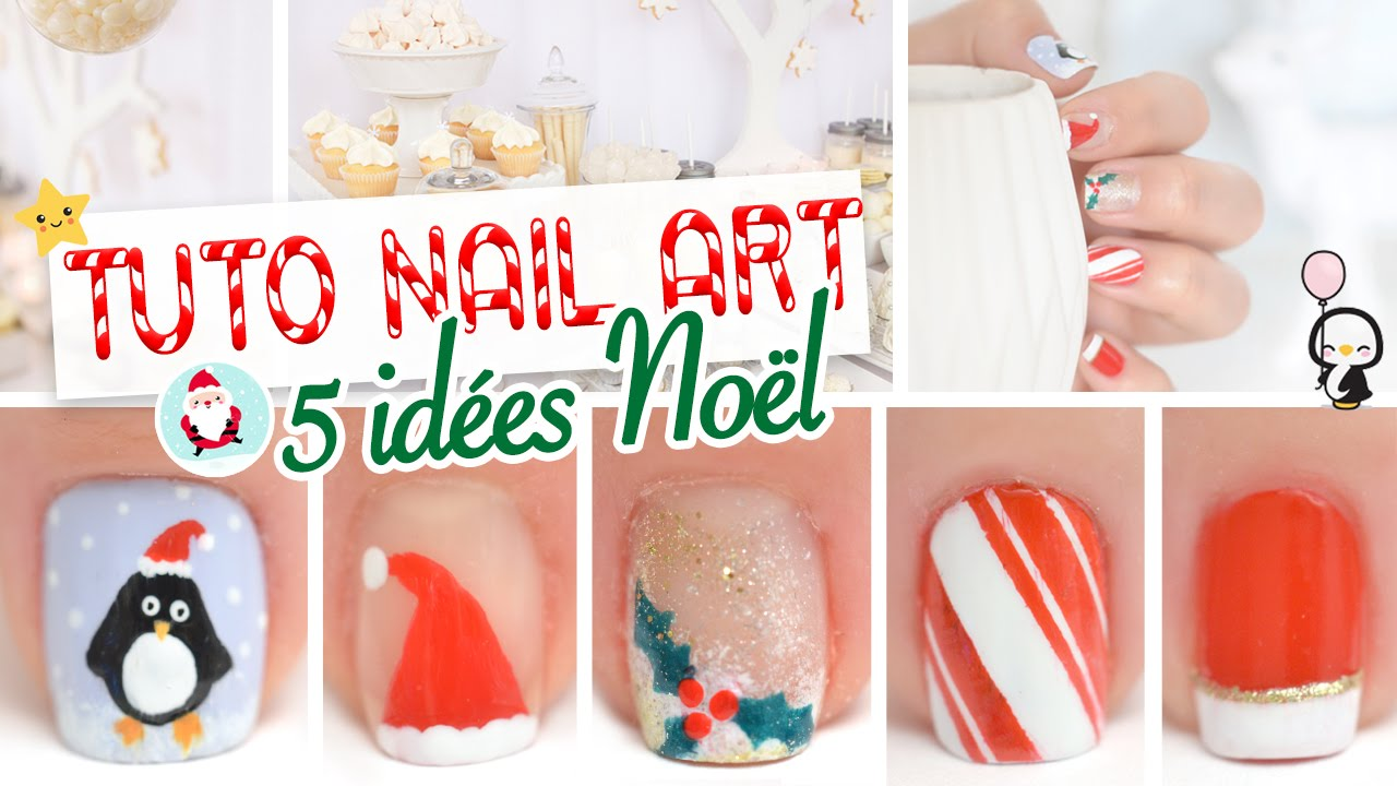 5 id es nail art pour no l youtube - Nail art noel facile ...