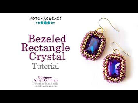 How to Bezel a Rectangular Crystal - DIY Jewelry Making Tutorial by PotomacBeads