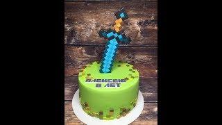 Оформление торта в стиле Майнкрафт