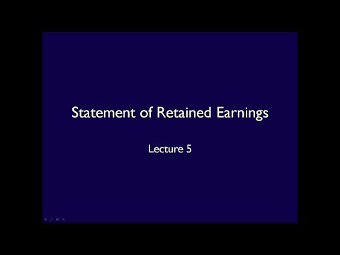 Financial statements - Lecture 5 Statement of Retained Earnings (ASPE)