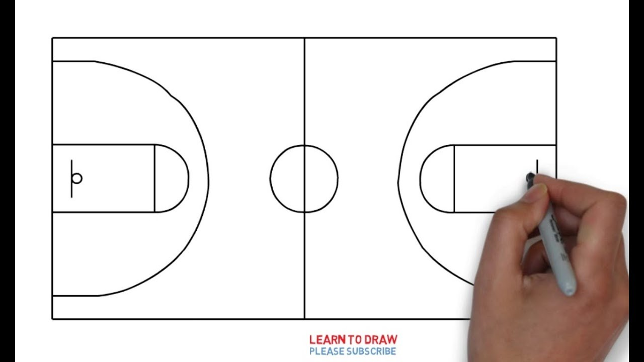 how to draw a basketball court step by step easy youtube