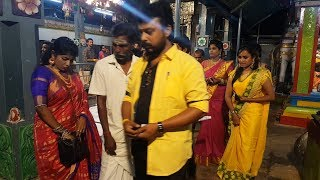 Comedy Actor Aadhavan and Suntv Comedy Junction Sandhya at Karuparayan Temple Tirupur