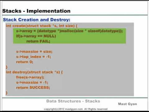 Data Structures : Implementation of Stack - YouTube