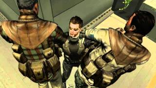 Crouch and push a crate in front of you to approach the foes safely and unseen Sentient crates are commonplace in Deus Ex universe so no one will bat an eye