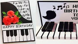 Happy Birthday Piano,3D Popup card//Handmade Birthday card idea.