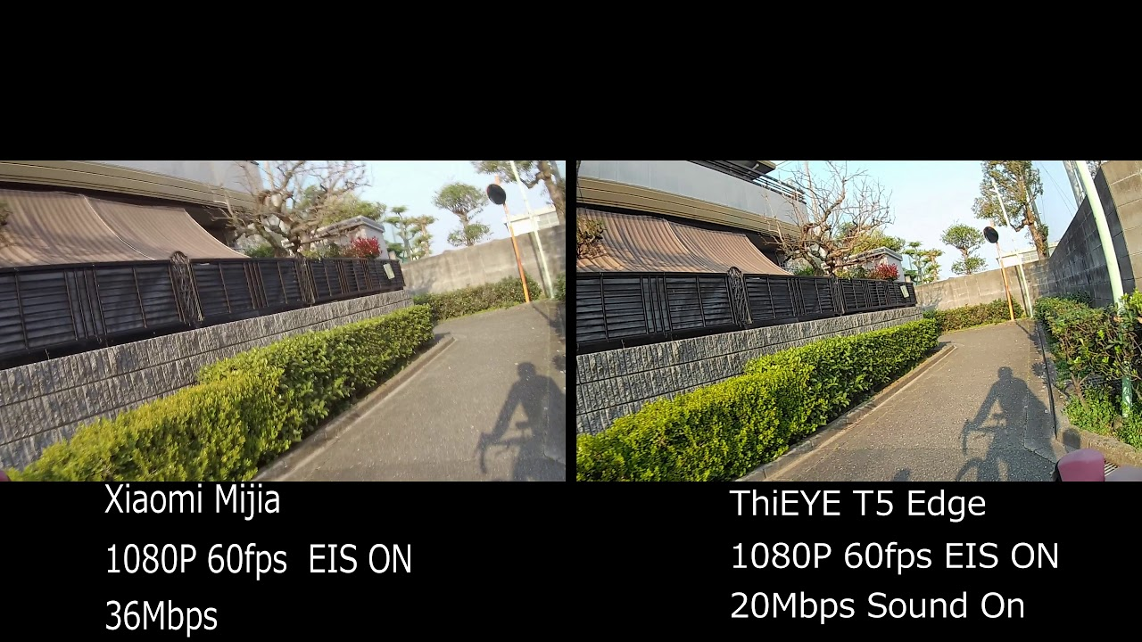 ThiEYE T5 Edge / Xiaomi Mijia 1080P 60fps比較 - YouTube