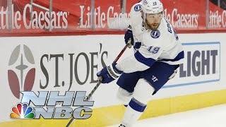 The lightning are quick to get on board, as blake coleman strikes 16 seconds into game and mikhail sergachev doubles it early in second lift t...