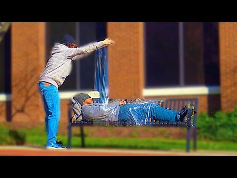 Plastic Wrapping People Prank