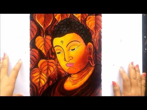 LORD BUDDHA GLASS PAINTING
