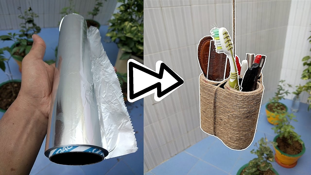 How To Make Hanging Pen Stand Tooth Brush Holder Diy Hacks Youtube