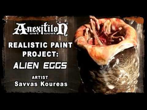 REALISTIC PAINT JOB ON XENOMORPH ALIEN EGGS - by Savvas Koureas AnexitiloN - Cyprus