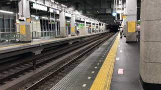 阪神から山陽へ直通しない直通特急板宿行き(台風接近中による運転見合わせ) 電車接近放送